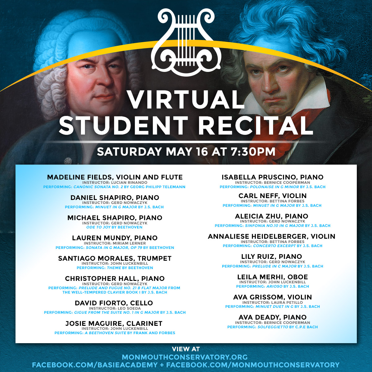 Virtual Student Recital Exploring Beethoven, Bach & More!